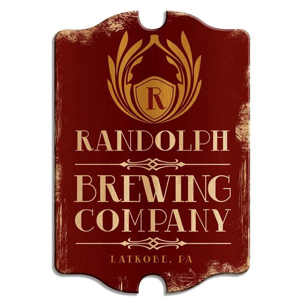 Custom Tavern Shaped Wood Bar Sign - Brewing Company (Red)