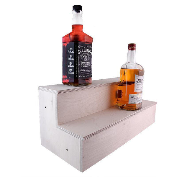 Wooden Liquor Bottle Shelves - Handcrafted in the USA - 2 Tier - Size Variants