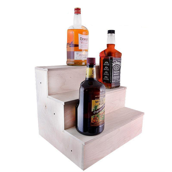 Wooden Liquor Bottle Shelves - Handcrafted in the USA - 3 Tier - Natural - Size Variants