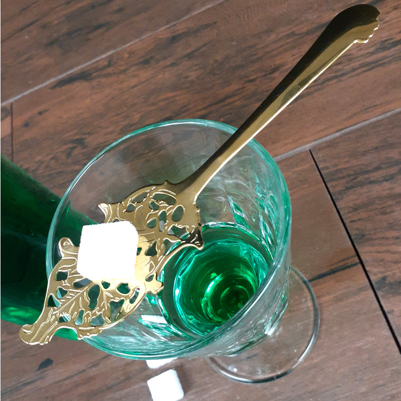 Wormwood Leaf Absinthe Gold Plated Spoon