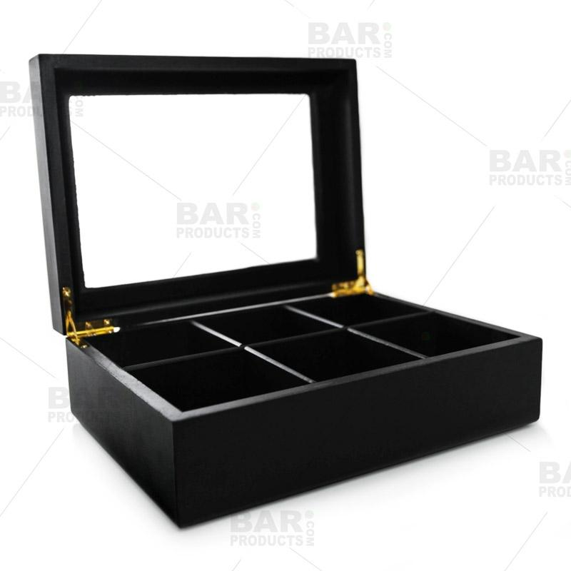 Wood Tea Chest - 6 Compartment (Black)