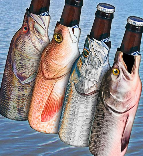 Zipper Bottle Cooler - Fish