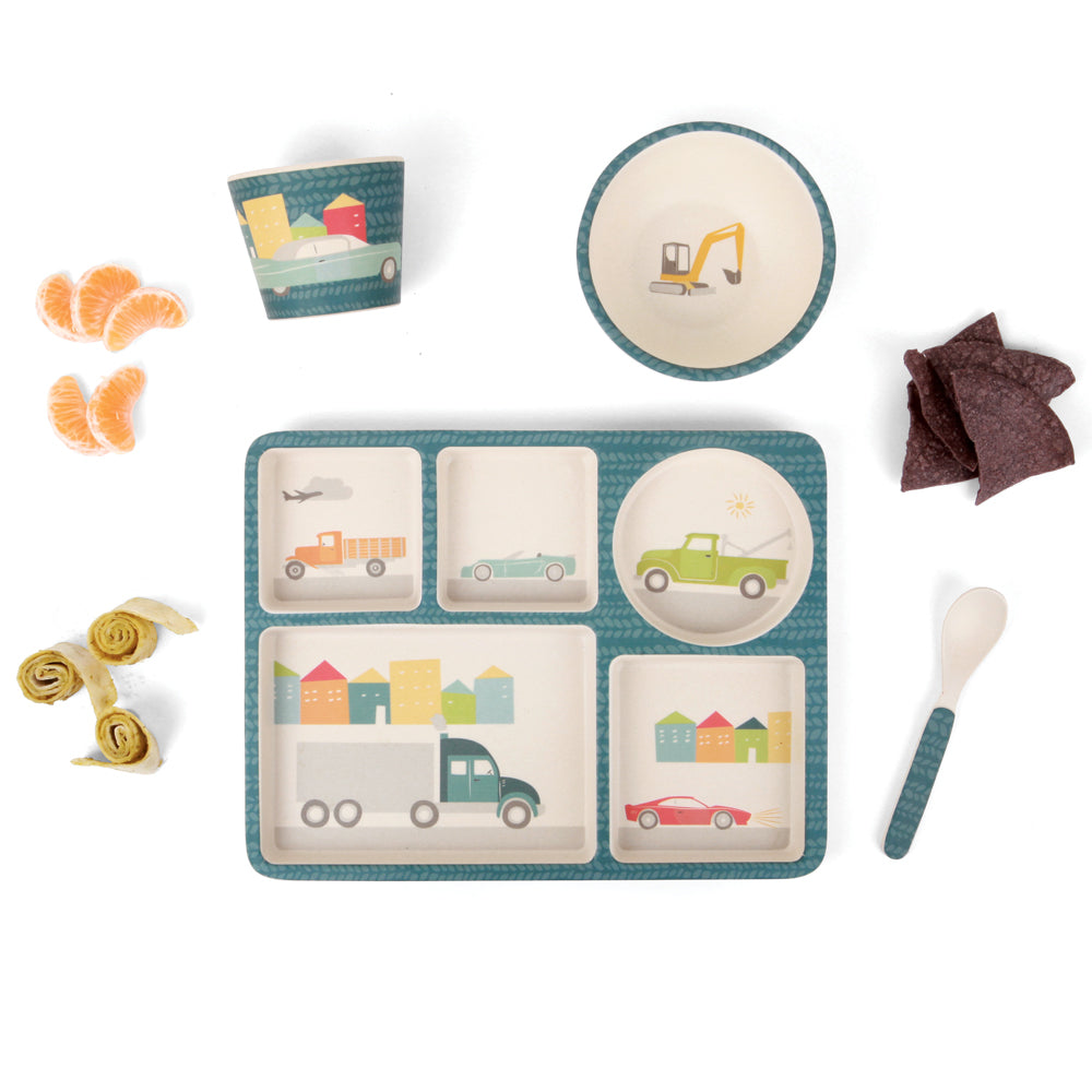 Bamboo Divided Plate Set - Cars