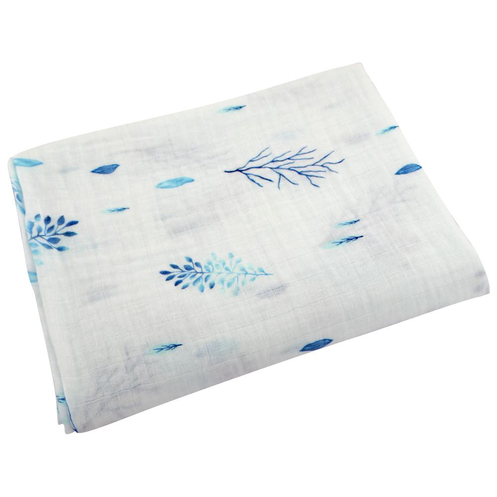 Ponchik Baby Muslin Wrap - Lagoon Leaves