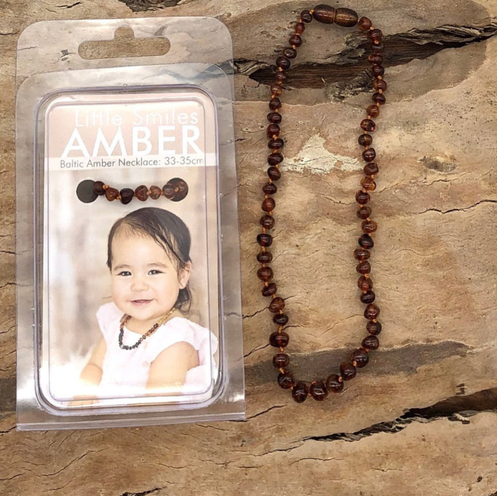 Nut Brown Baltic Amber Teething Necklace