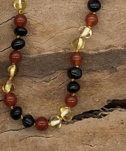 Dark & Yellow Baltic Amber & Red Bead  Teething Necklace