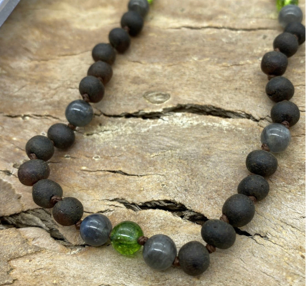 Raw Dark Cherry Baltic Amber, Labradorite and Green Bead Teething Necklace