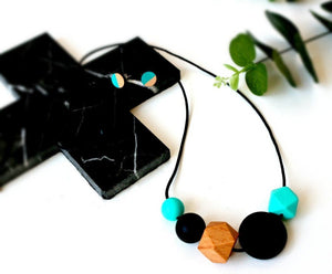 Bubba Chew Silicone Necklace - Black Turquoise