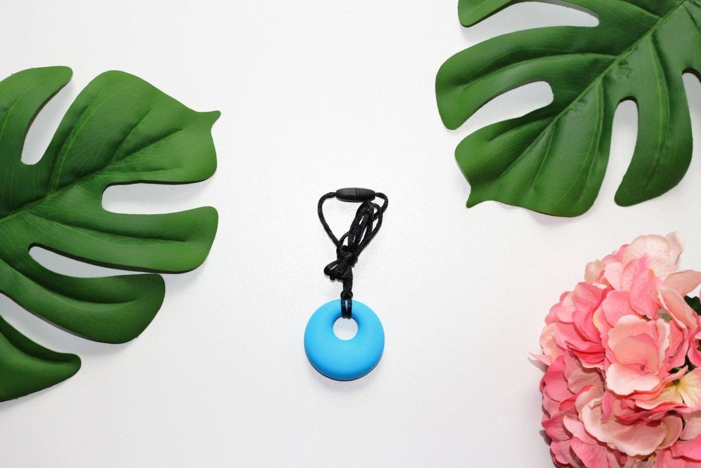 Sky Blue Chew Buddy Necklace - Sensory Round Pendant (by Bubba Chew)