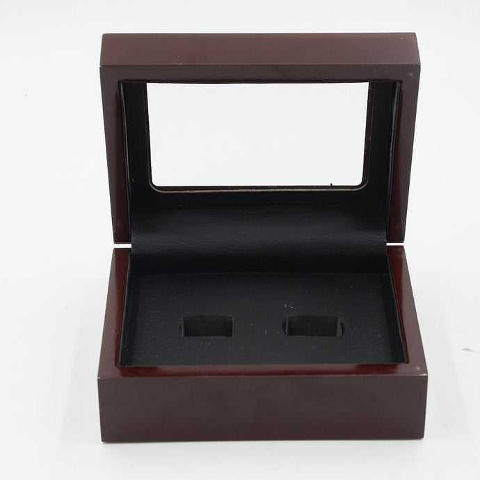 Solid Wooden Display Box with Clear Display (2 Holes) - Championship Rings