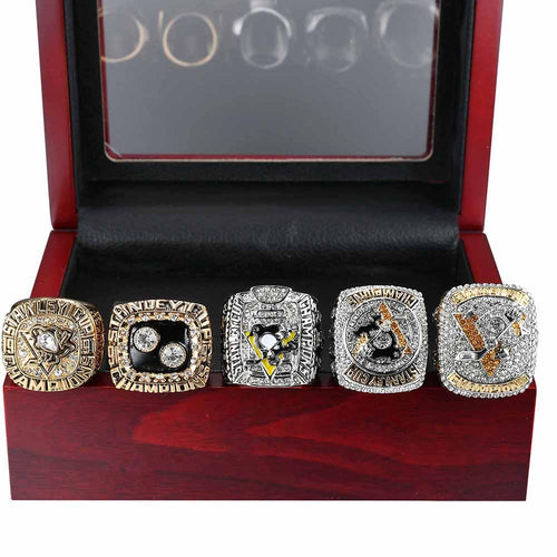 Pittsburgh Penguins Stanley Cup Ring Set (1991, 1992, 2009, 2016, 2017) - Championship Rings