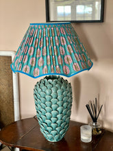 Load image into Gallery viewer, Turquoise block print scallop lampshade 18""
