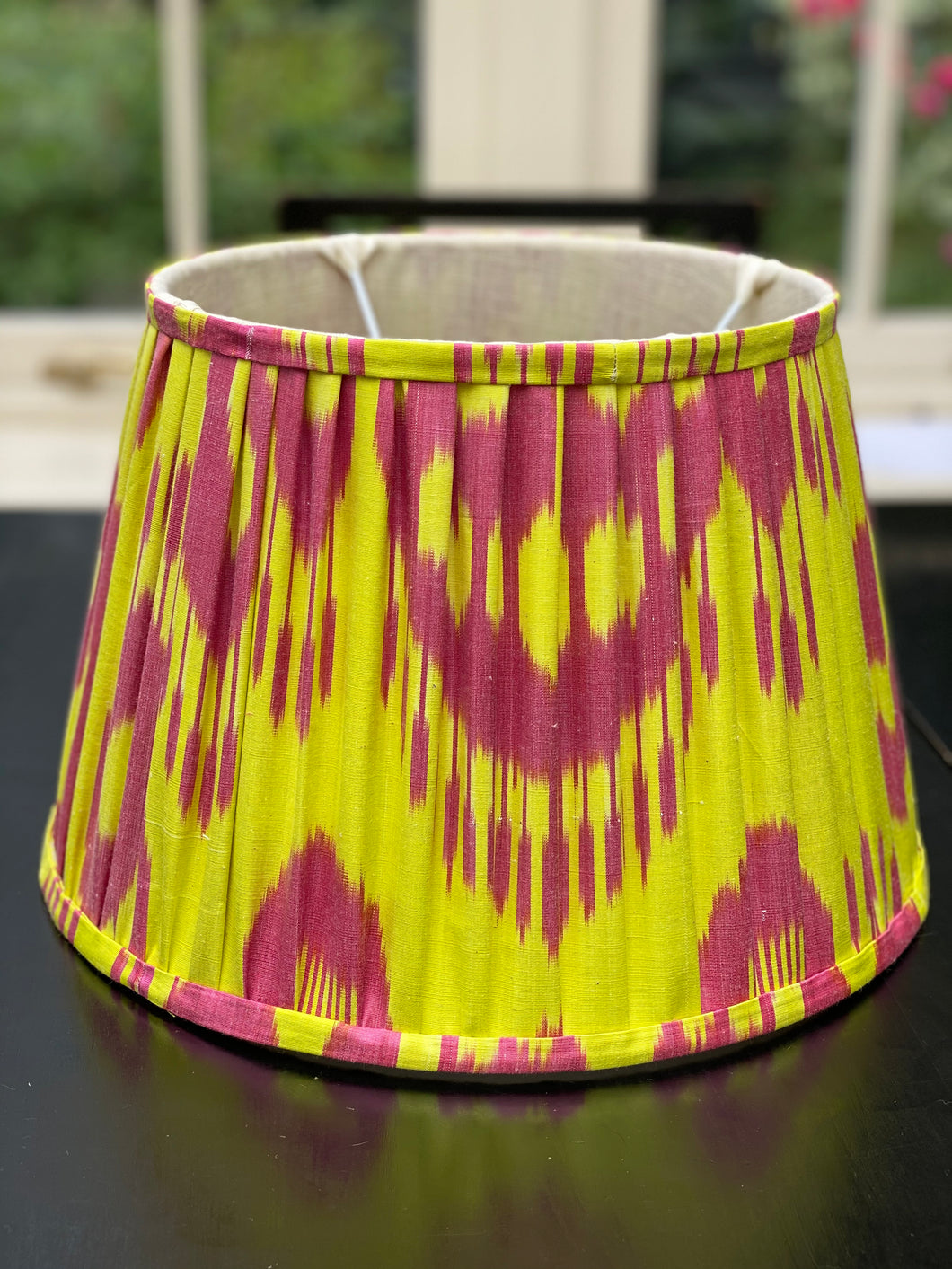 Yellow ikat lampshade 14""
