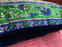 Load image into Gallery viewer, Blue and green silk sari bolster cushion