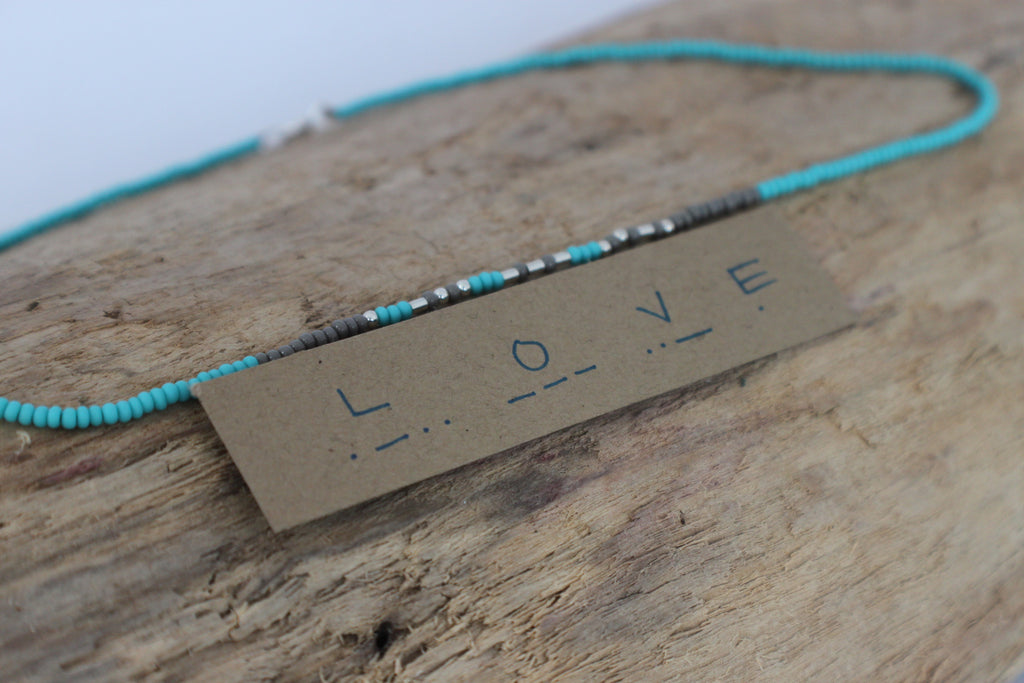 love morse code bead necklace