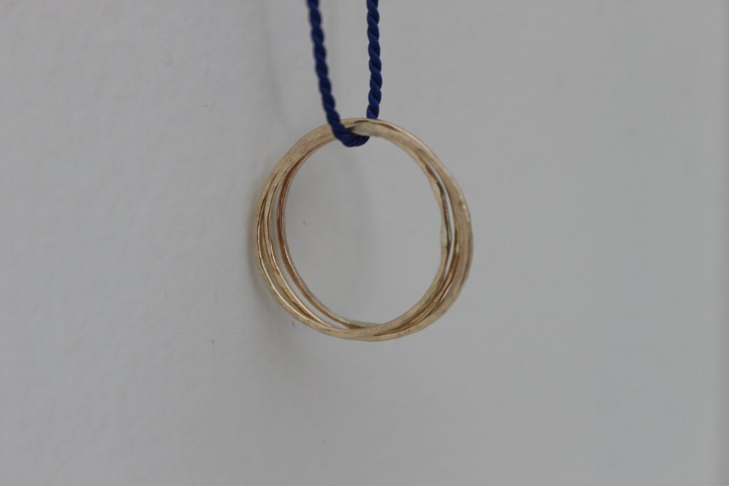 Simply Connected - 14K Gold Circles on Silk Cord