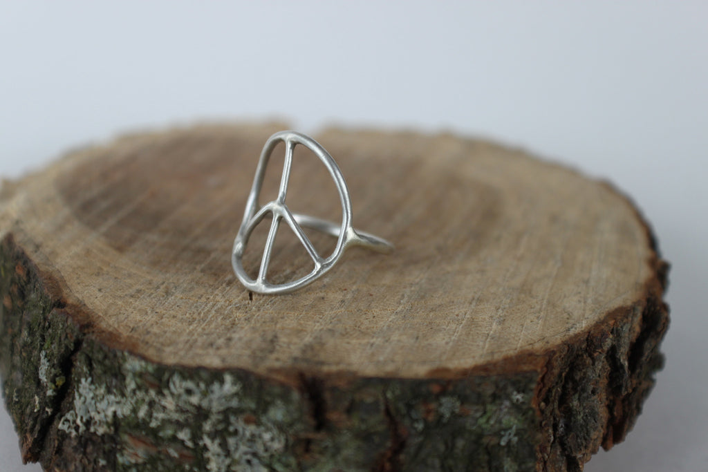 side view of peace sign ring by SFDesigns