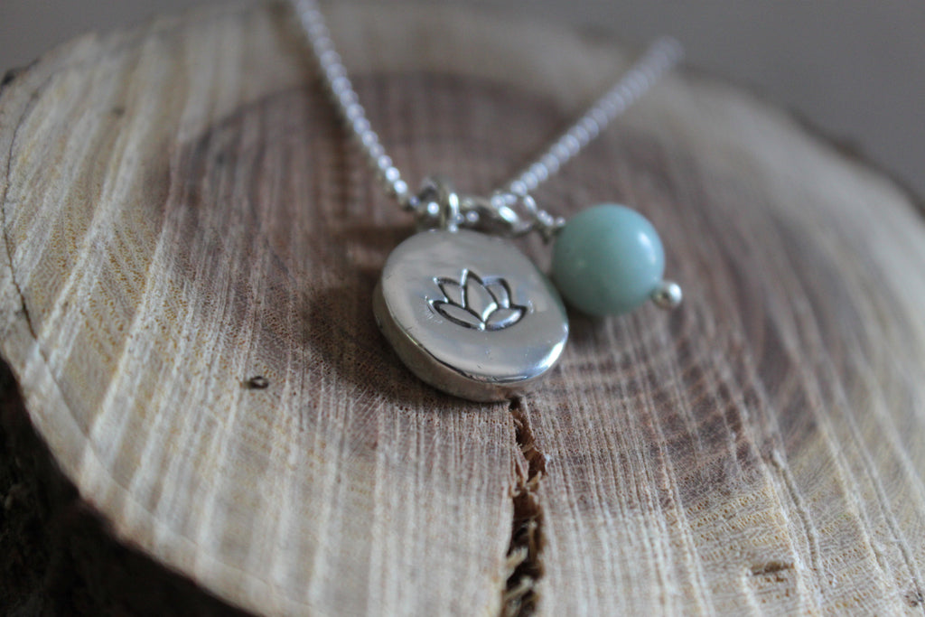 lotus and amazonite handcrafted by SFDesigns