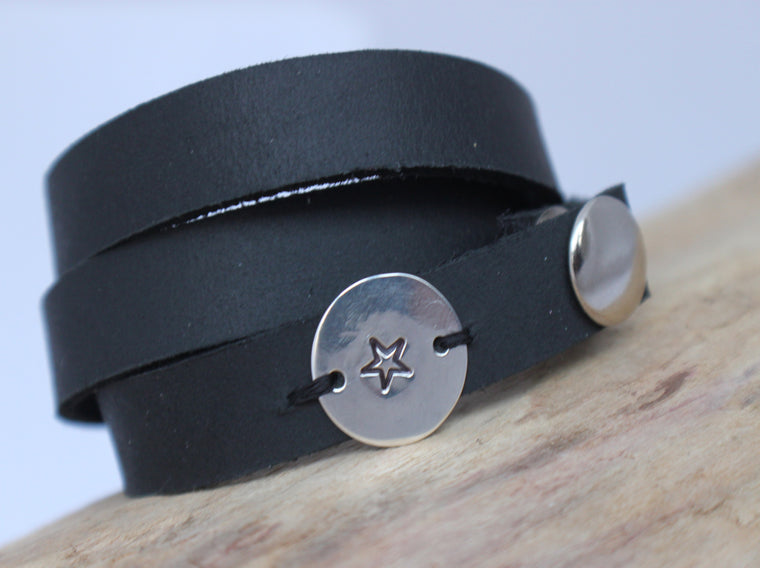 black leather wrap bracelet with hand stamped star circle charm