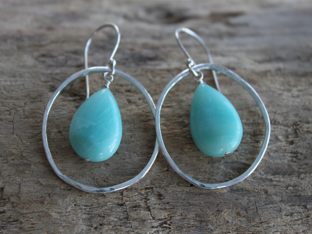 amazonite teardrop and silver hoop earrings by SFDesigns