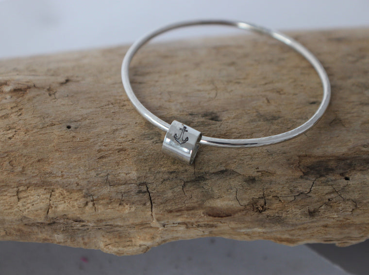 Simply Scrappy - Hand Stamped Lucky Silver Bangle