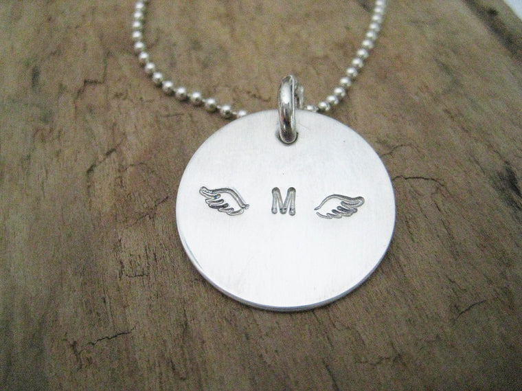 Always Remember - personalized angel wings necklace