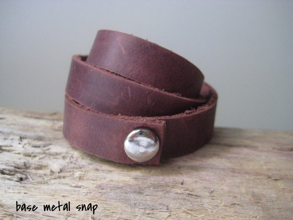 sample of base metal snap on brown leather wrap bracelet