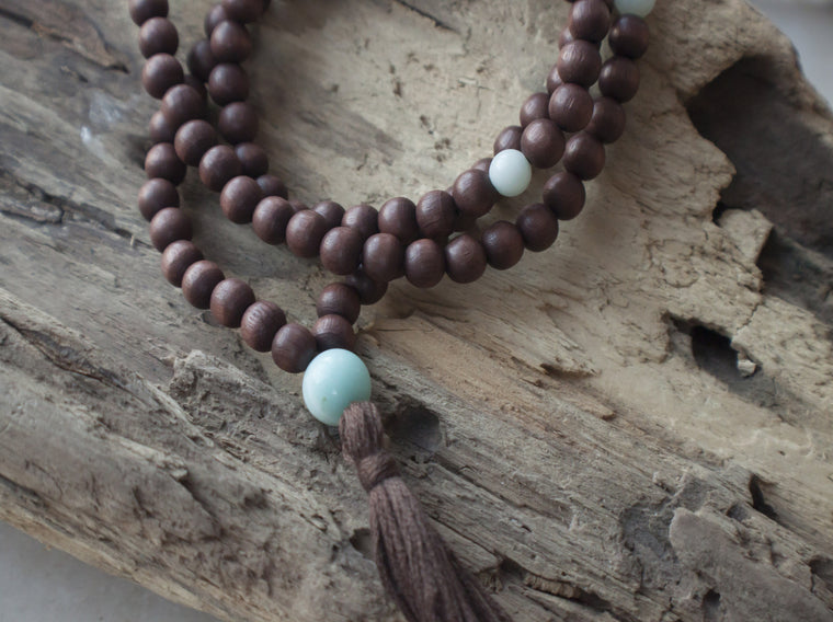 brown wooden mala with amazonite beads by SFDesigns