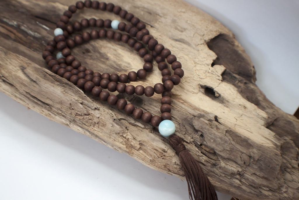brown wooden mala