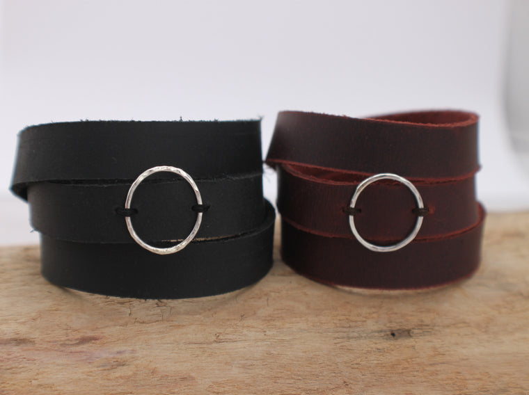 Circle of Hope - silver circle and leather wrap bracelet