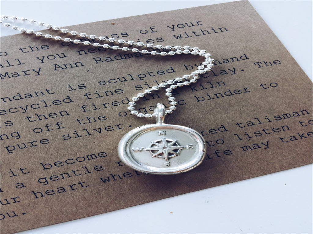 silver wax seal compass necklace by SFDesigns