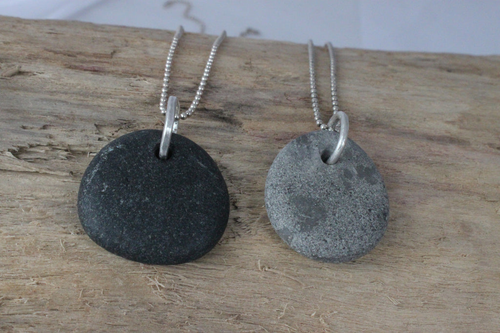 natural beach stone necklace on sterling silver chain