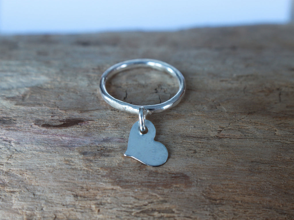 recycled silver floating heart minimalist ring
