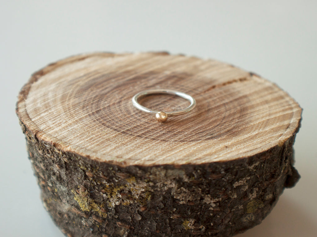 gold pebble ring with silver band