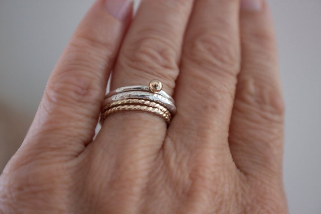 Golden Ripple - gold and silver stackable ring