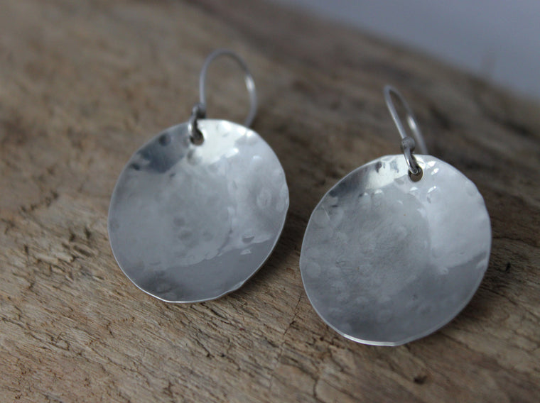 hammered circle earrings made from eco friendly silver by SFDesigns