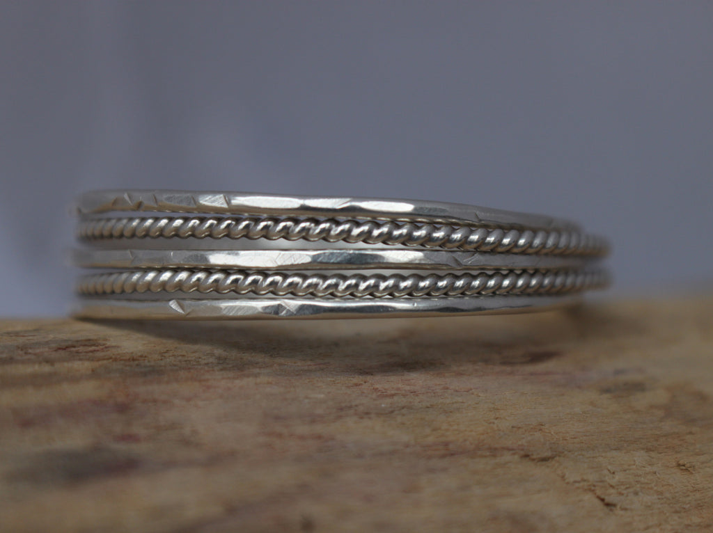 sterling silver plain and twisted bangle by SFDesigns