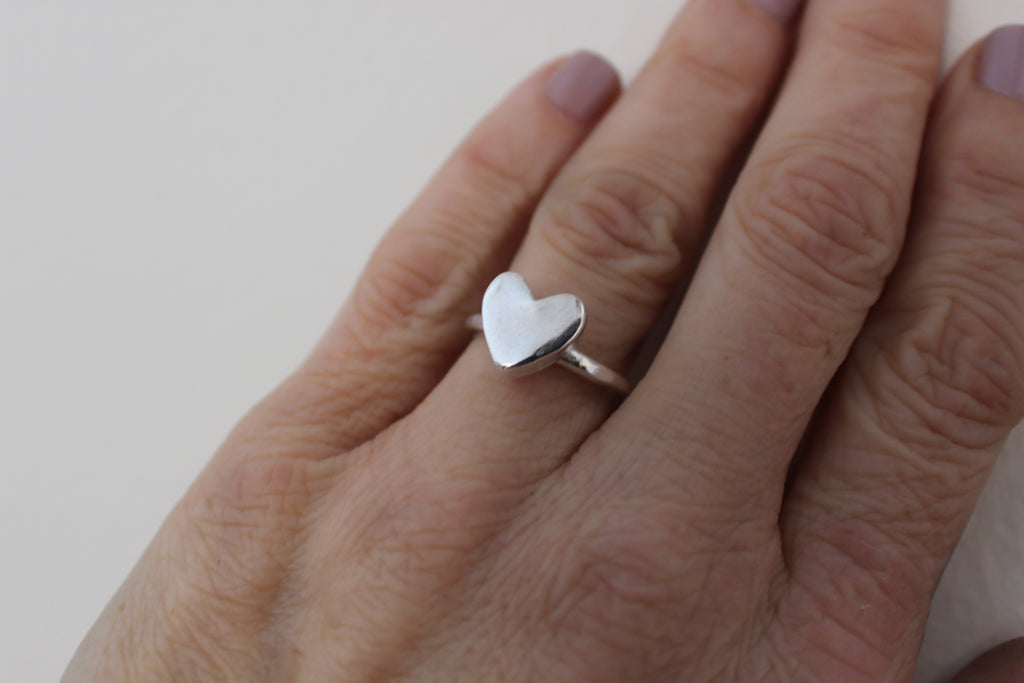 Sterling silver heart ring.