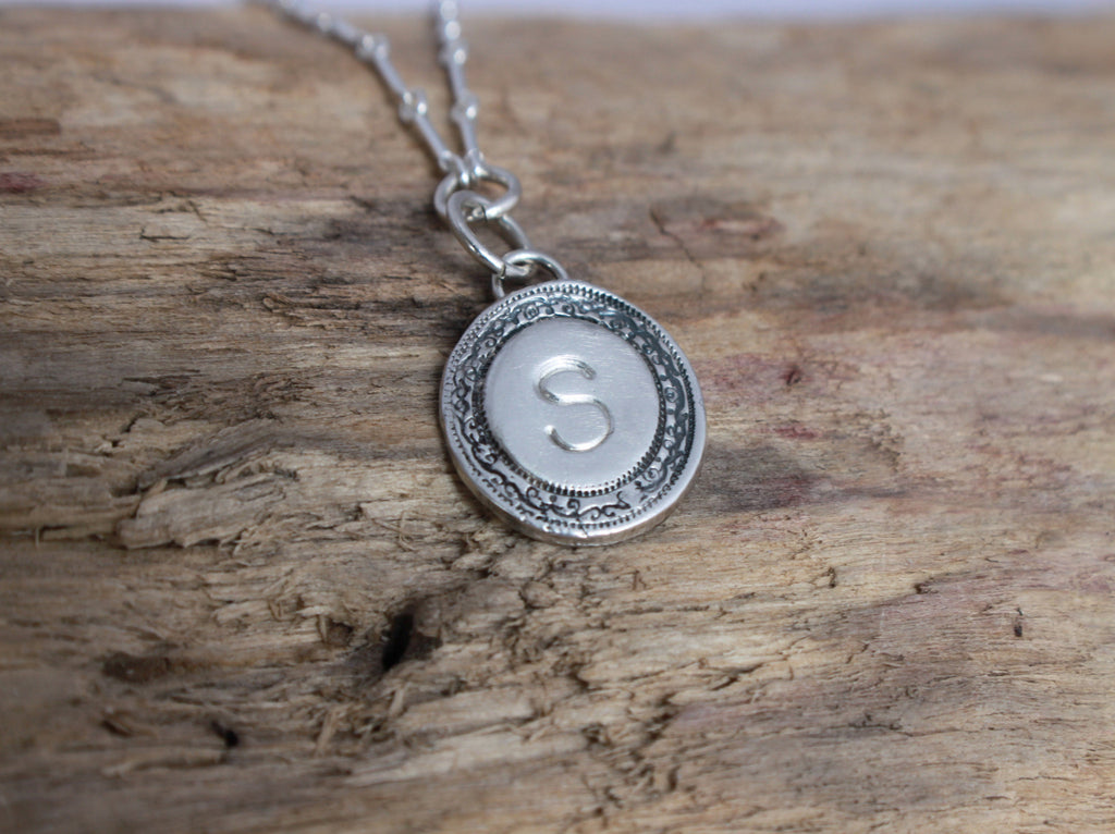 heirloom hand stamped initial necklace size small