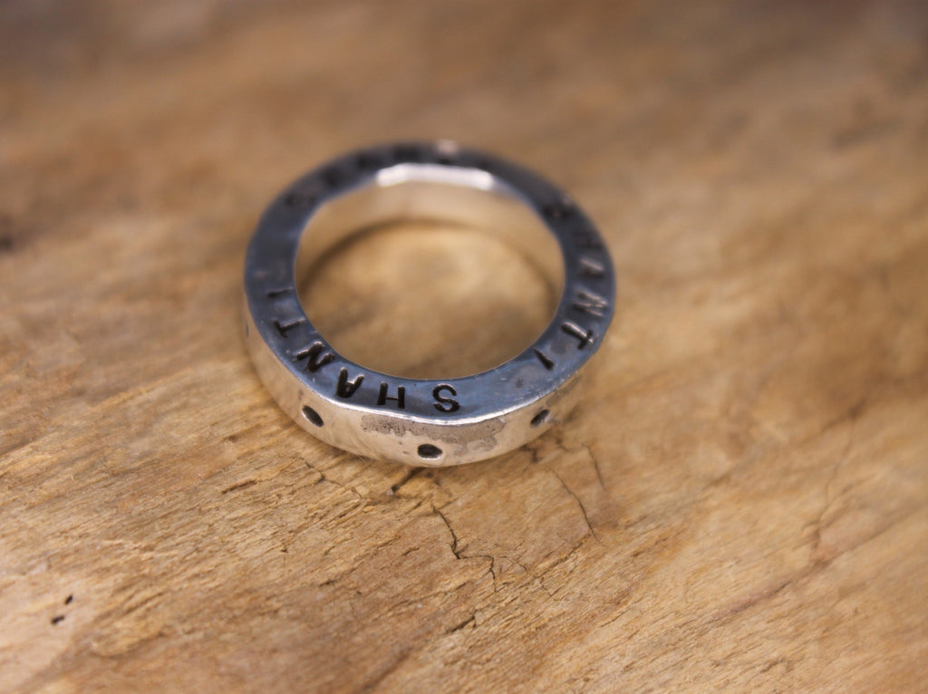hand stamped thick sterling silver band