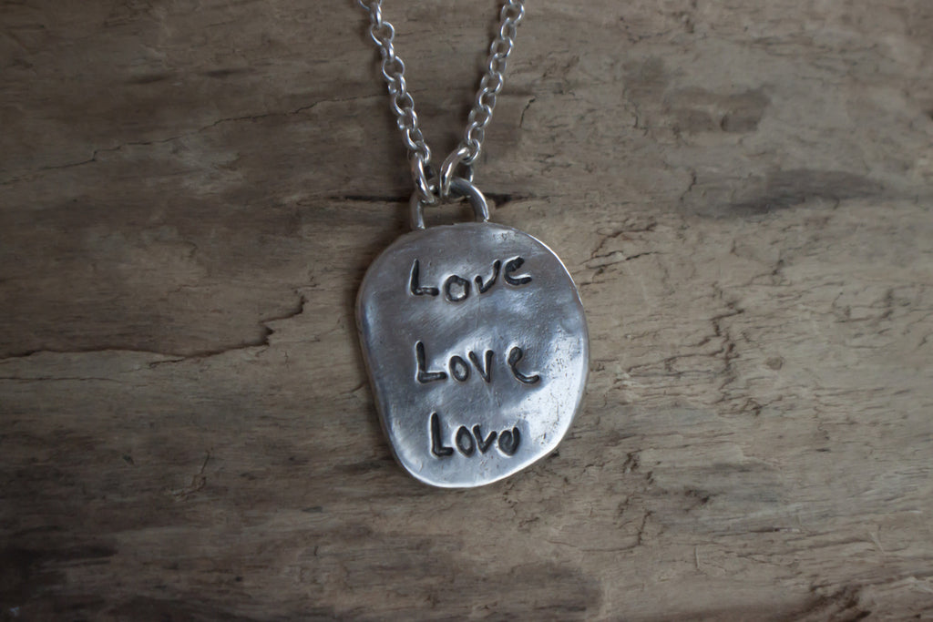 Lasting Impressions handwriting or child's artwork fine silver pendant