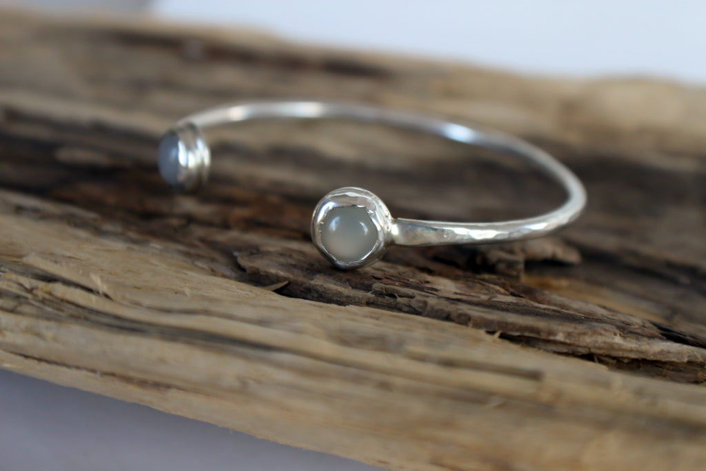 eco friendly sterling silver cuff bracelet with moonstone