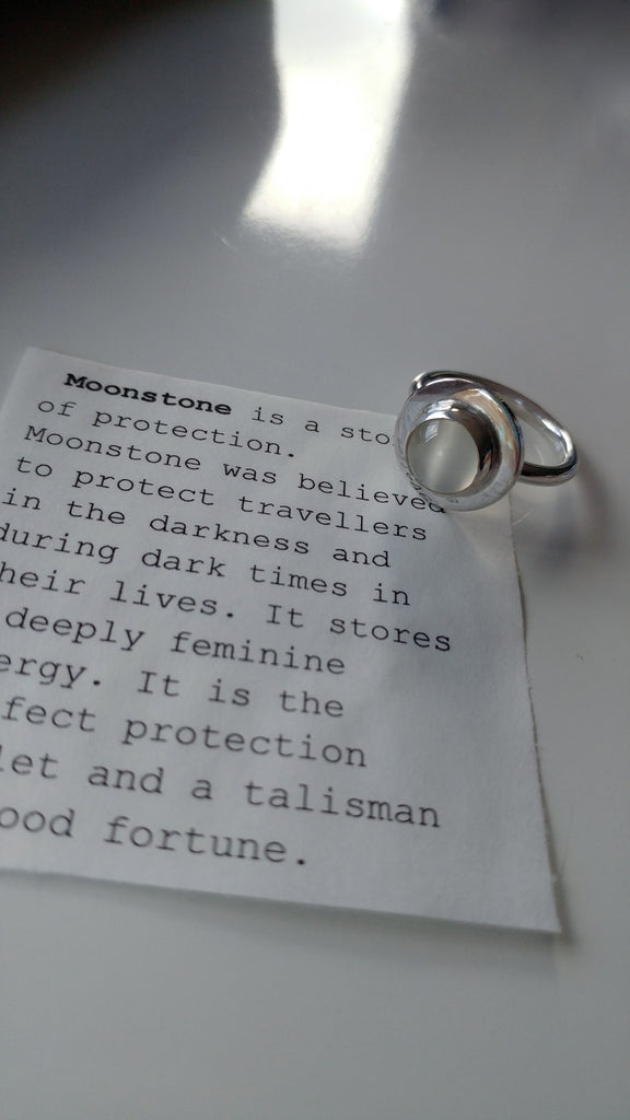 Simple Talisman - moonstone silver ring
