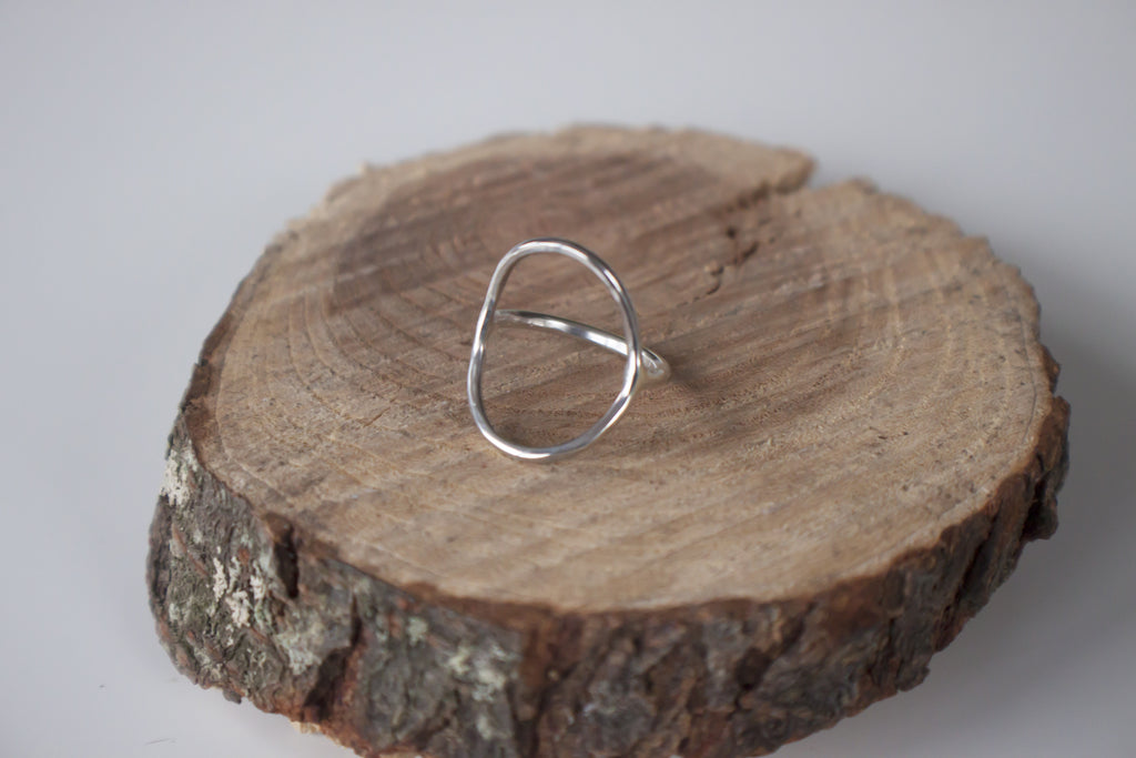 delicate open circle silver ring