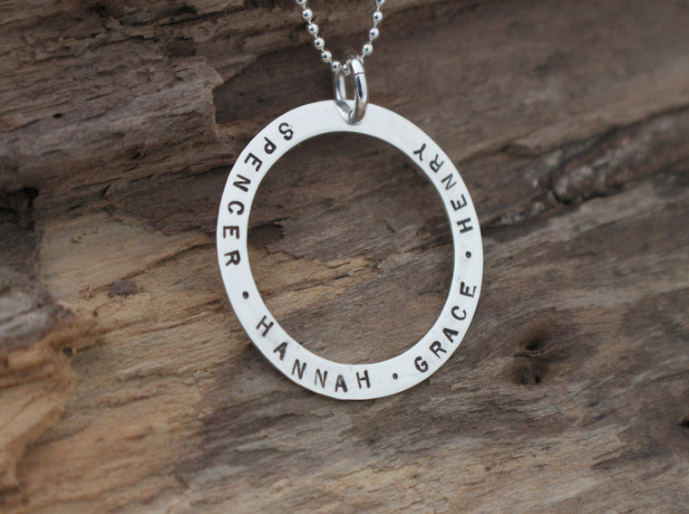 personalized open circle pendant by SFDesigns