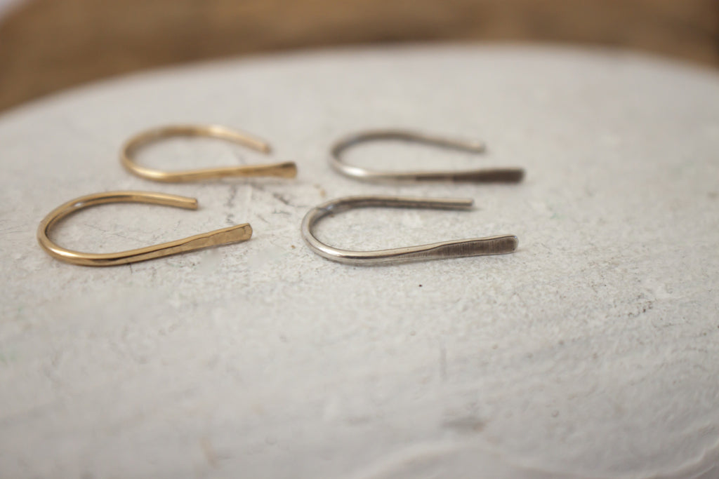 open hoop recycled sterling silver and gold jewelry