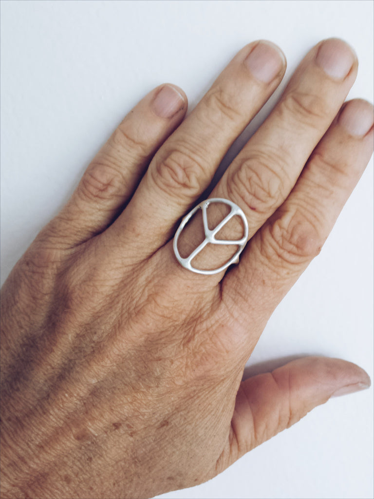sterling silver peace sign ring by SFDesigns