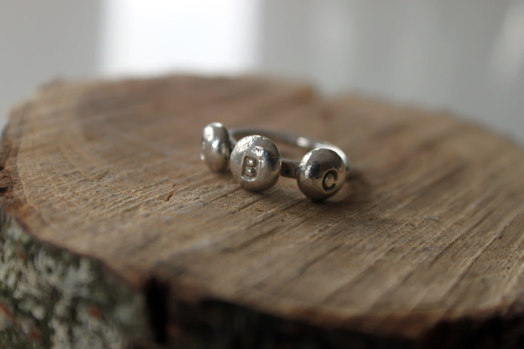 Stepping Stones - hand stamped silver initial pebble ring