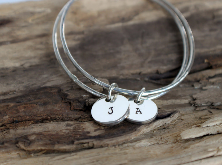 monogrammed initial sterling silver bangle charm bracelet by SFDesigns