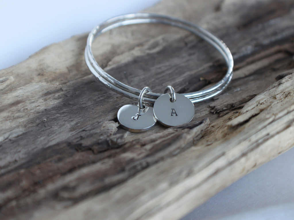 monogrammed initial sterling silver bangle by SFDesigns